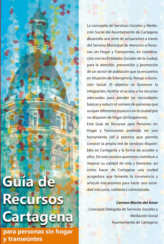Guía de Recursos Cartagena para personas sin hogar y transeúntes