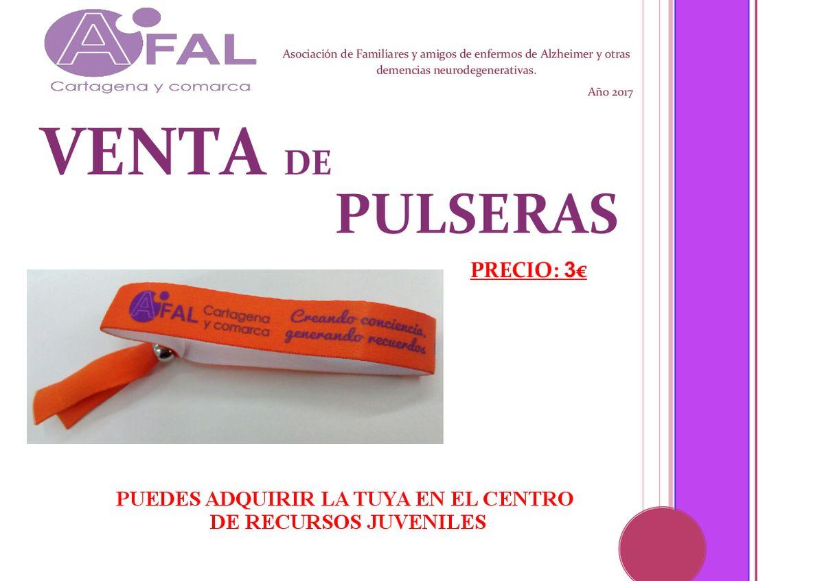 Cartel de la venta de pulseras y camisetas de AFAL