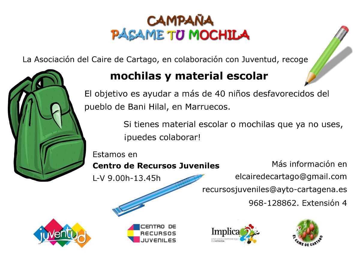 Campaña Pásame tu Mochila, de la Concejalía de Juventud
