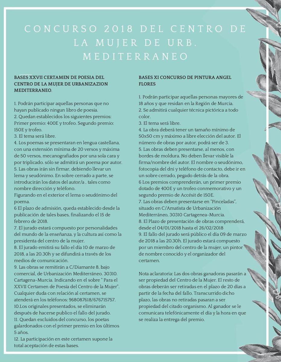 Concursos de poesía y pintura de Urbanización Mediterráneo 2018