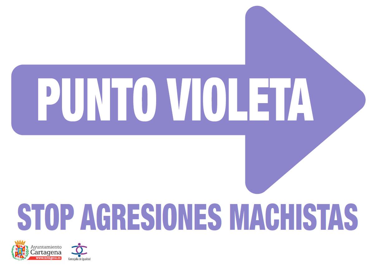 Cartel señalizador del Punto Violeta contra la violencia machista en Carthagineses y Romanos