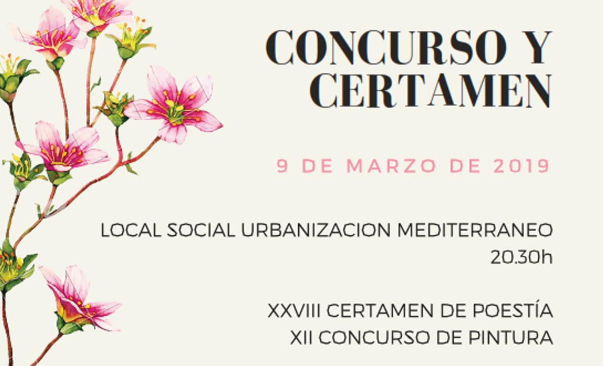 Cartel Certamen y Concurso Centro de Mujeres Urbanización Mediterráneo