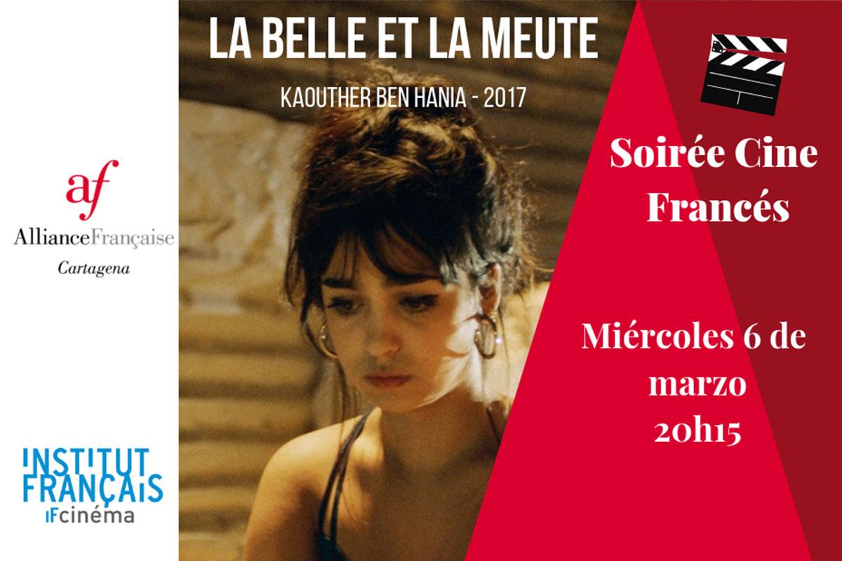 Cartel La Belle et la Meute Fb - Mes de la Mujer de la Alianza Francesa