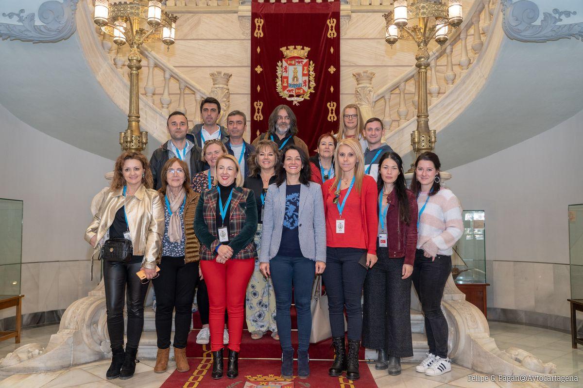 Visita de profesores Erasmus+ al Palacio Consistorial de Cartagena