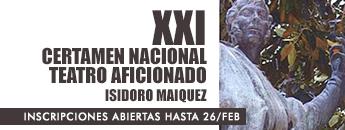 Inscripciones XXI Certamen Nacional de Teatro Aficionado Isidoro Máiquez 2020