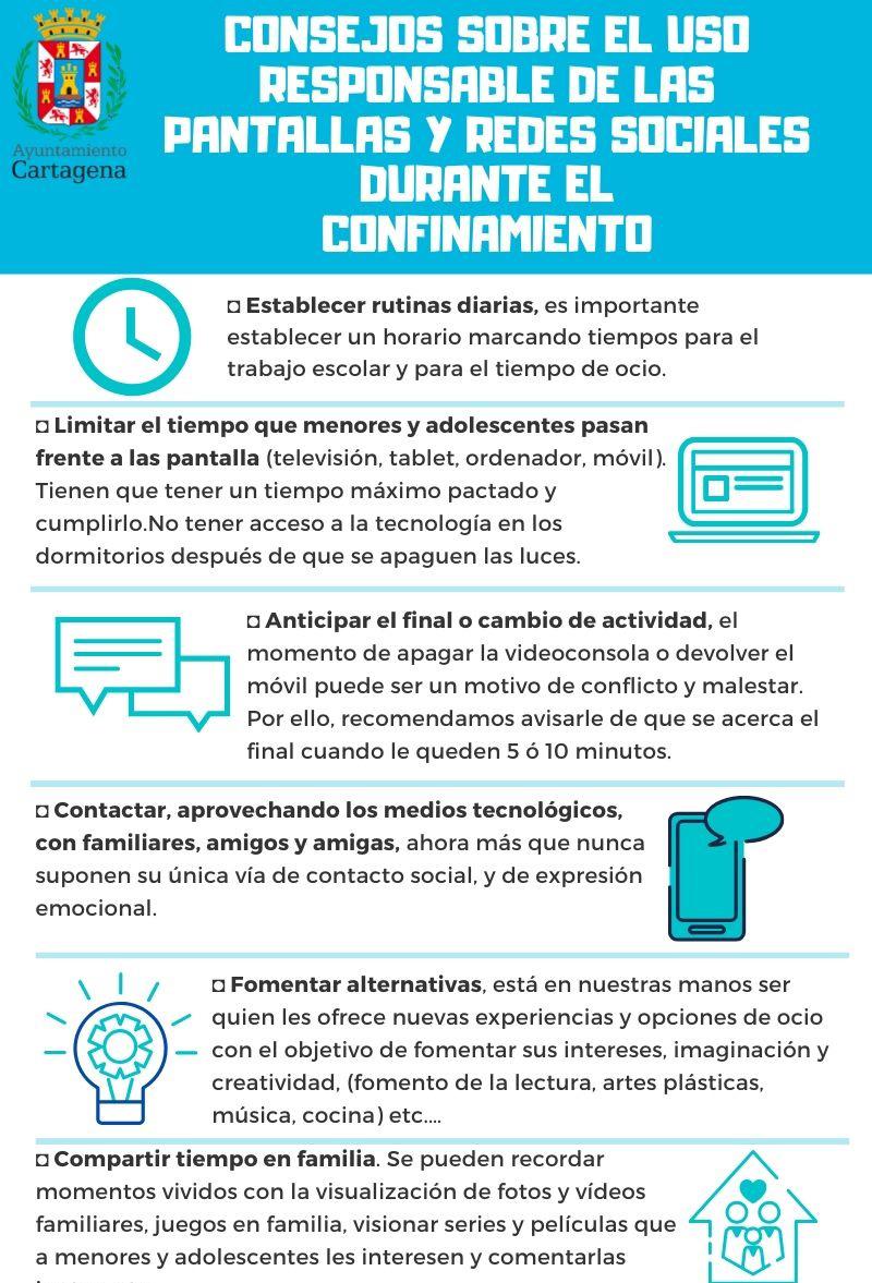 Consejos sobre el uso responsable de las pantallas y redes sociales durante el confinamiento. Documento PDF - 1,08 MB. Se abre en ventana nueva