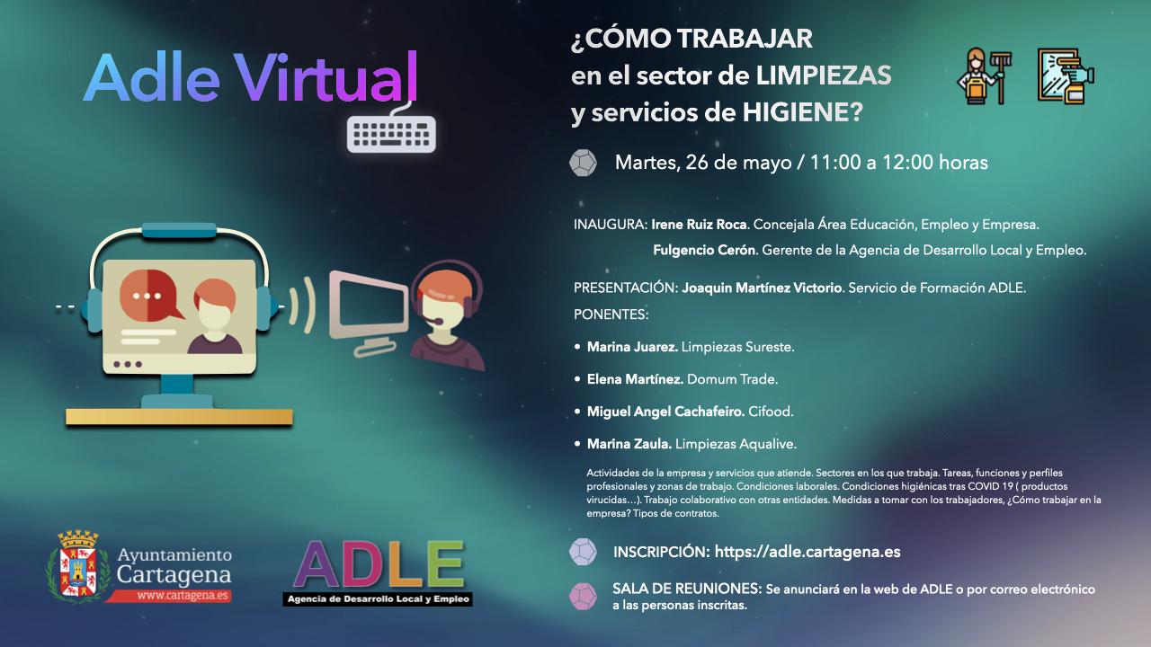 Sesión on line en el aula virtual de la ADLE sobre el sector de la limpieza