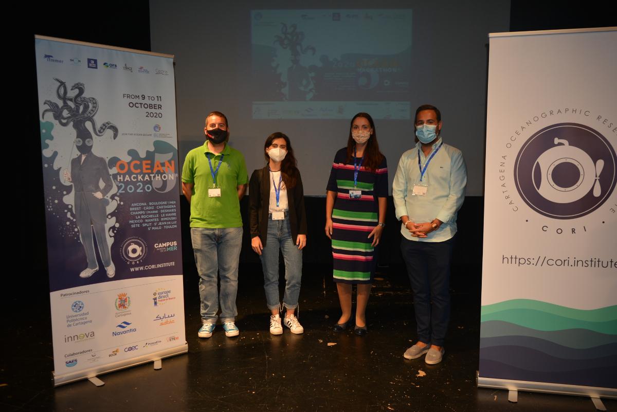 David Martínez en la entrega de premios del Ocean Hackathon 2020 de Cartagena