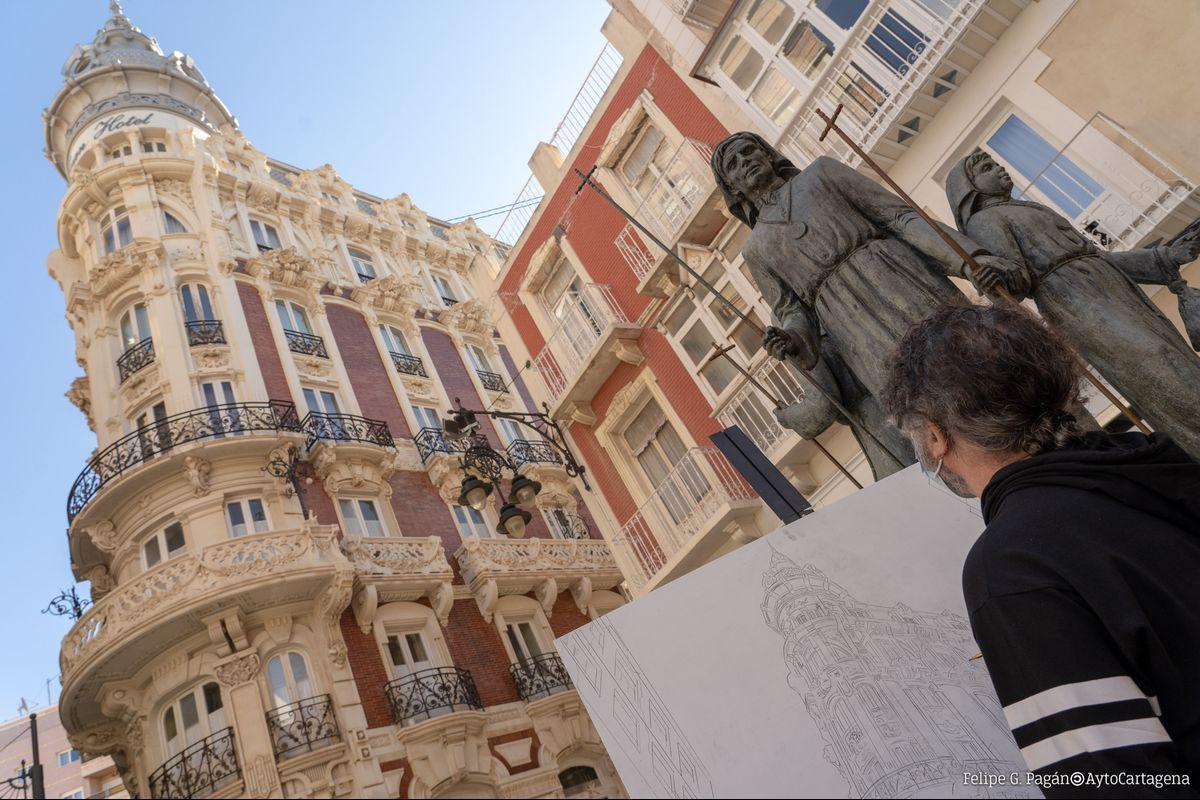 Día del Pintor, Javier Lorente pintando en la calle