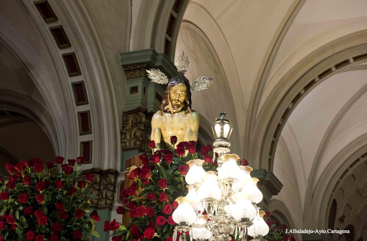 Cristo de la Flagelación, imagen de Mariano Benlliure, en la procesión del Miércoles Santo