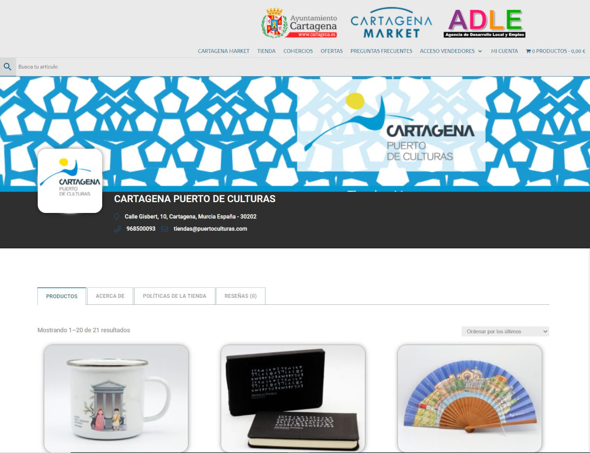 Las tiendas de Cartagena Puerto de Culturas en la web de Cartagena Market