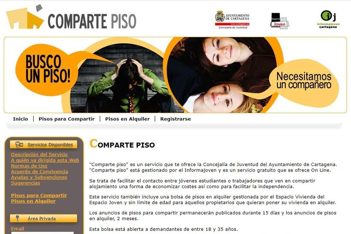 Web del servicio Comparte Piso, de la Concejalía de Juventud