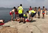 Simulacro rescate en las playas de Galúa y Cala del Pino