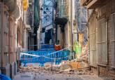 Derrumbe de la medianera de un edificio en la calle Cuatro Santos