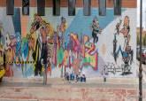 Realización del grafiti homenaje a Ibañez